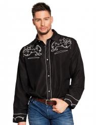 Camisa cowboy faroeste preta adulto