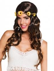 Peruca comprida castanha com bandolete às flores mulher