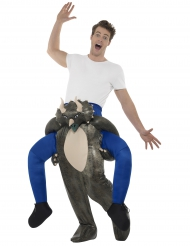 Disfarce homem às costas de um dinossauro adulto