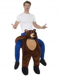 Disfarce homem às costas de urso adulto