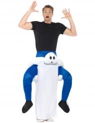 Disfarce homem às costas de um fantasma adulto Halloween