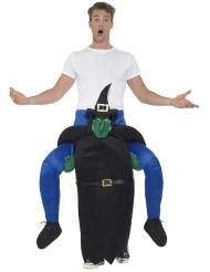 Disfarce homem às costas de uma bruxa adulto Halloween