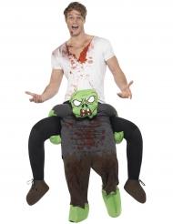 Disfarce homem às costas de um zombie adulto Halloween