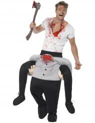 Disfarce homem às costas de um homem sem cabeça adulto Halloween