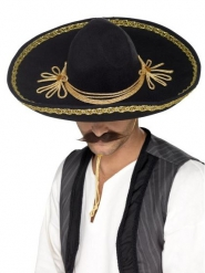 Sombrero preto e dourado luxo adulto