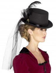 Chapéu alto com véu mulher Steampunk