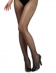 Collants de rede preta com brilhantes mulher