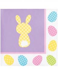16 Guardanapos de papel pequenos lilás coelho da Páscoa