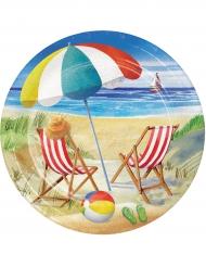 8 Pratos de cartão praia