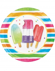 8 Pratos de cartão Hello Summer