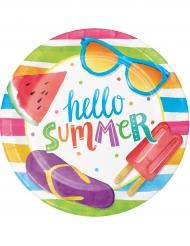 8 Pratos pequenos de cartão Hello Summer