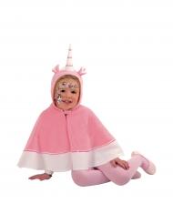 Capa unicórino com capuz cor-de-rosa menina