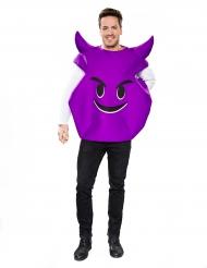 Disfarce emoticon diabo lilás adulto