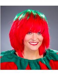 Peruca morango verde e vermelha mulher