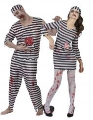 Disfarce de casal Prisioneiros zombie Halloween