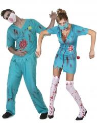 Disfarce de casal médicos zombie Halloween