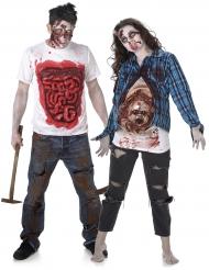 Disfarce de casal zombie gore Halloween