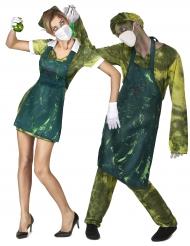 Disfarce de casal cirurgião e enfermeira radioativos Halloween