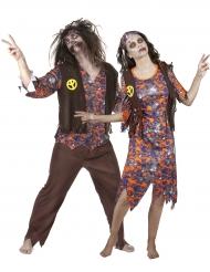 Dosfarce de casal hippie zombie Halloween