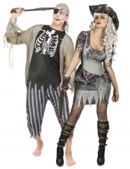 Disfarce casal pirata zombie Halloween