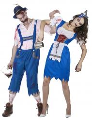 Disfarce de casal bávaro zombie Halloween