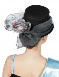 Chapéu alto com fita e flor prateada adulto