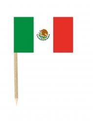 50 Palitos com bandeira mexicana 3 x 5 cm