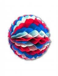 Bola de papel azul, branca e vermelha 25 cm