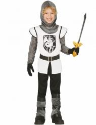 Disfarce cavaleiro branco em cota de malha menino