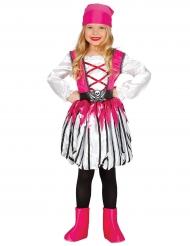Disfarce pirata as riscas cor-de-rosa menina