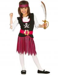 Disfarce pirata as riscas pretas e cor-de-rosa menina