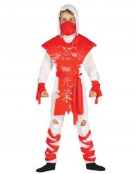 Disfarce ninja fantasma branco e vermelho menino