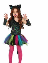 Disfarce leopardo arco-íris menina