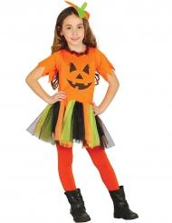 Disfarce abóbira com tutu colorido menina Halloween
