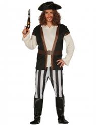 Disfarce capitão pirata listrado - homem