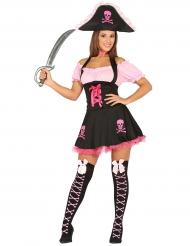 Disfarce pirata preto e rosa - mulher