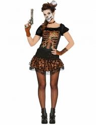 Disfarce esqueleto preto e acobreado mulher Steampunk