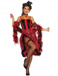 Disfarce dançarina de cancan às riscas vermelhas e pretas mulher