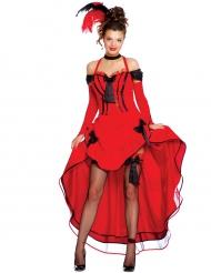 Disfarce dançarina de cancan vermelho mulher