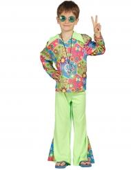 Disfarce hippie verde com símbolos coloridos menino