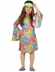Disfarce hippie com símbolos coloridos menina