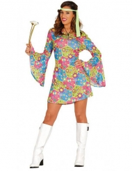 Disfarce hippie símbolos coloridos mulher