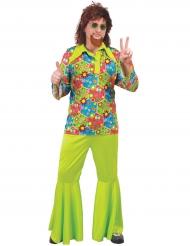 Disfarce hippie verde com símbolos coloridos homem
