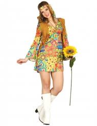 Disfarce hippie com símbolos coloridos e colete mulher