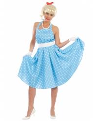 Disfarce vestido azul às bolas brancas anos 50 mulher