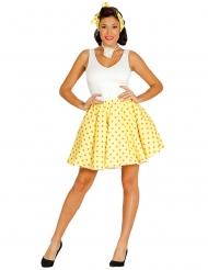 Saia e lenço amarelo às bolinhas anos 50 mulher