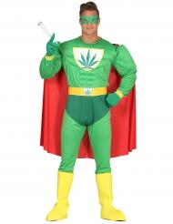 Disfarce humorístico super-herói folha de canábis adulto