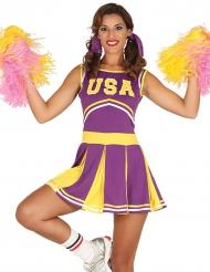 Disfarce pompom girl USA lilás e amarelo mulher