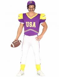 Disfarce Futebolista americano lilás e branco adulto