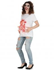 T-shirt mulher grávida sangrenta adulto Halloween